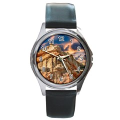 Canyon Dramatic Landscape Sky Round Metal Watch by Celenk