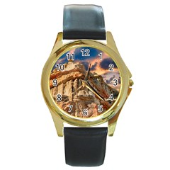 Canyon Dramatic Landscape Sky Round Gold Metal Watch by Celenk