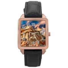Canyon Dramatic Landscape Sky Rose Gold Leather Watch