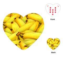 Yellow Banana Fruit Vegetarian Natural Playing Cards (heart)  by Celenk