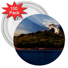 Island God Rays Sky Nature Sea 3  Buttons (100 Pack)  by Celenk