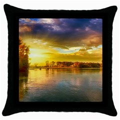 Landscape Lake Sun Sky Nature Throw Pillow Case (black)