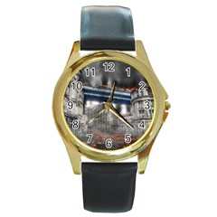 Destruction City Building Round Gold Metal Watch by Celenk