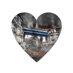 Destruction City Building Heart Magnet