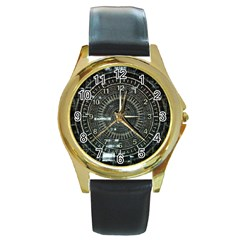Time Machine Science Fiction Future Round Gold Metal Watch by Celenk