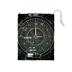 Time Machine Science Fiction Future Drawstring Pouches (medium)  by Celenk