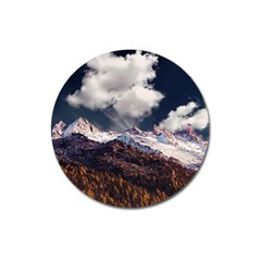 Mountain Sky Landscape Hill Rock Magnet 3  (round) by Celenk
