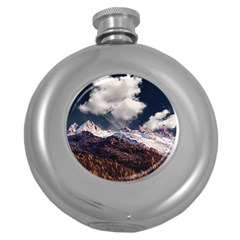 Mountain Sky Landscape Hill Rock Round Hip Flask (5 Oz) by Celenk