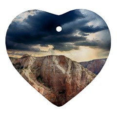 Nature Landscape Clouds Sky Rocks Heart Ornament (two Sides)
