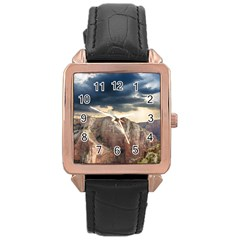 Nature Landscape Clouds Sky Rocks Rose Gold Leather Watch