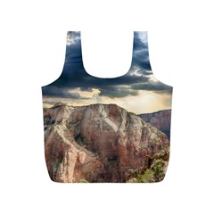 Nature Landscape Clouds Sky Rocks Full Print Recycle Bags (s)  by Celenk