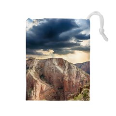 Nature Landscape Clouds Sky Rocks Drawstring Pouches (large)  by Celenk