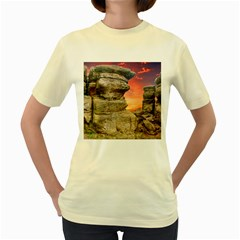 Rocks Landscape Sky Sunset Nature Women s Yellow T Shirt