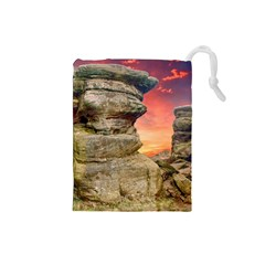 Rocks Landscape Sky Sunset Nature Drawstring Pouches (small)