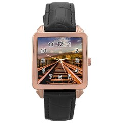 Railway Track Travel Railroad Rose Gold Leather Watch  by Celenk