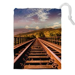 Railway Track Travel Railroad Drawstring Pouches (xxl) by Celenk