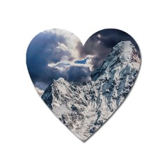 Mountain Snow Winter Landscape Heart Magnet