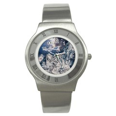 Mountain Snow Winter Landscape Stainless Steel Watch