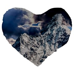 Mountain Snow Winter Landscape Large 19  Premium Flano Heart Shape Cushions by Celenk
