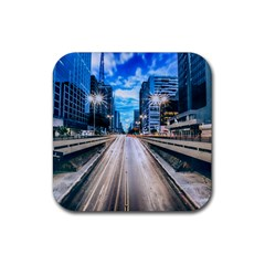 Urban Street Cityscape Modern City Rubber Square Coaster (4 Pack)
