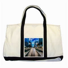 Urban Street Cityscape Modern City Two Tone Tote Bag