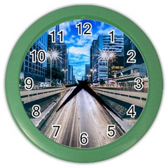 Urban Street Cityscape Modern City Color Wall Clocks