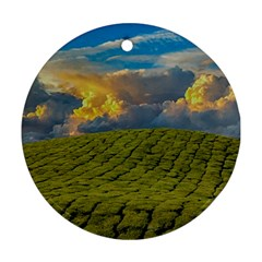 Sunrise Hills Landscape Nature Sky Round Ornament (two Sides)