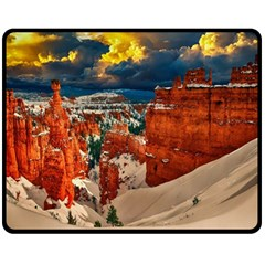 Snow Landscape Winter Cold Nature Double Sided Fleece Blanket (medium)  by Celenk