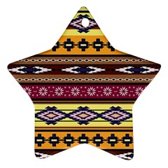 Colorful Tribal Art   Boho Pattern Ornament (star) by tarastyle