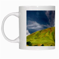 Hill Countryside Landscape Nature White Mugs by Celenk