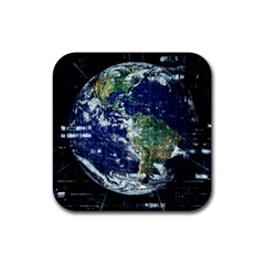 Earth Internet Globalisation Rubber Coaster (square)