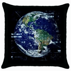 Earth Internet Globalisation Throw Pillow Case (black) by Celenk