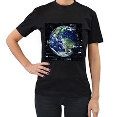 Earth Internet Globalisation Women s T Shirt (black) by Celenk