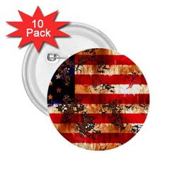 American Flag Usa Symbol National 2 25  Buttons (10 Pack)  by Celenk