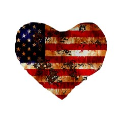 American Flag Usa Symbol National Standard 16  Premium Flano Heart Shape Cushions by Celenk