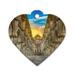 Abbey Ruin Architecture Medieval Dog Tag Heart (one Side)