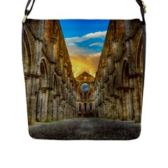 Abbey Ruin Architecture Medieval Flap Messenger Bag (l)  by Celenk