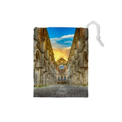 Abbey Ruin Architecture Medieval Drawstring Pouches (small)  by Celenk
