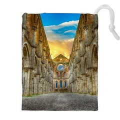 Abbey Ruin Architecture Medieval Drawstring Pouches (xxl) by Celenk