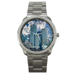 Tower Blocks Skyscraper City Modern Sport Metal Watch