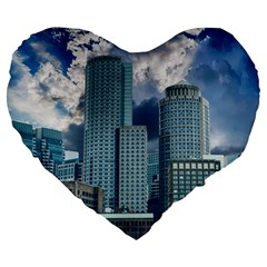 Tower Blocks Skyscraper City Modern Large 19  Premium Heart Shape Cushions by Celenk