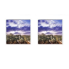 Mountain Snow Landscape Winter Cufflinks (square) by Celenk