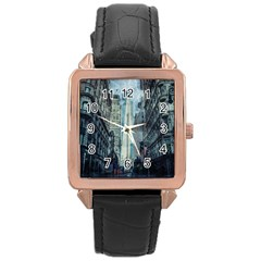 Storm Damage Disaster Weather Rose Gold Leather Watch