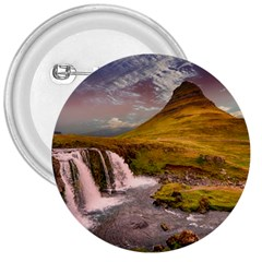 Nature Mountains Cliff Waterfall 3  Buttons by Celenk