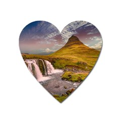 Nature Mountains Cliff Waterfall Heart Magnet