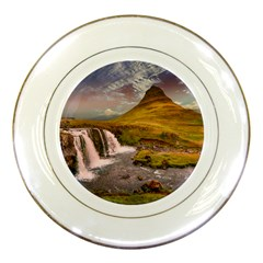 Nature Mountains Cliff Waterfall Porcelain Plates