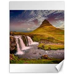 Nature Mountains Cliff Waterfall Canvas 12  X 16   by Celenk