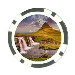 Nature Mountains Cliff Waterfall Poker Chip Card Guard