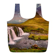 Nature Mountains Cliff Waterfall Full Print Recycle Bags (l)  by Celenk