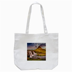 Nature Mountains Cliff Waterfall Tote Bag (white)